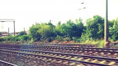 Fast Running Railways Tracks Stock Footage