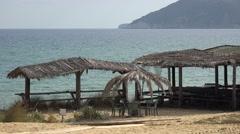 4K Exotic sandy beach resort Greece Skiathos Island sea restaurant terrace bar Stock Footage
