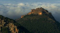 Nimrod Fortress above a cloudy valley shot in Israel. Stock Footage