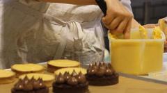 Dessert  gourmet lemon tart Stock Footage