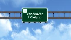 Stock Illustration of Vancouver Canada Airport Highway Road Sign 3D Illustration