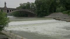 Waterfall near Maximillian bridge on Isar River, Munich Stock Footage