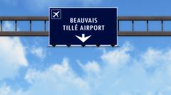 Stock Illustration of Beauvis France Airport Highway Road Sign 3D Illustration