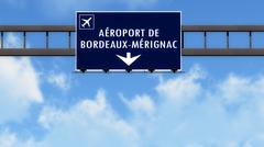Bordeaux France Airport Highway Road Sign 3D Illustration - stock illustration