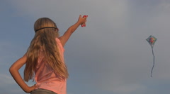 Children Playing Kite on Meadow, Little Girl Flying a Dragon in Sky, Outdoor Stock Footage