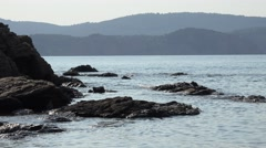 4K Beautiful seascape rock mountain hill Greece Island peaceful place tranquil  Stock Footage