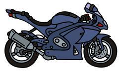 Dark strong motorbike - stock illustration