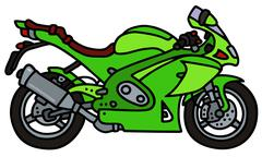 Green motorbike - stock illustration