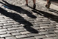 Shadow on pavement Stock Photos