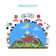 Cycling Concept Flat Stock Illustration