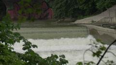 Beautiful waterfall on Isar River, Munich Stock Footage