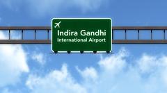 Stock Illustration of Delhi India Airport Highway Road Sign 3D Illustration