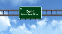 Delhi India Airport Highway Road Sign 3D Illustration - stock illustration