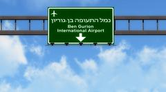 Tel Aviv Ben Gurion Israel Airport Highway Road Sign 3D Illustration - stock illustration