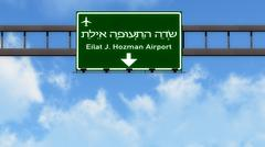 Eilat Israel Airport Highway Road Sign 3D Illustration - stock illustration