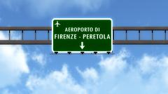 Firenze Italy Airport Highway Road Sign 3D Illustration - stock illustration