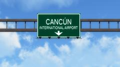 Cancun Mexico Airport Highway Road Sign 3D Illustration - stock illustration