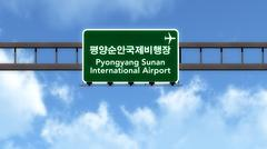 Stock Illustration of Pyongyang Sunan North Korea Airport Highway Road Sign 3D Illustration