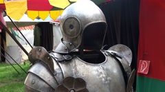 4k Knight's armor close up at medieval pageant event Stock Footage