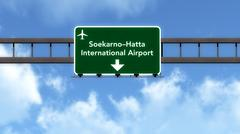 Stock Illustration of Indonesia Airport Highway Road Sign 3D Illustration