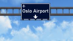 Oslo Norway Airport Highway Road Sign 3D Illustration - stock illustration