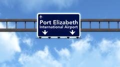 Stock Illustration of Port Elizabeth South Africa Airport Highway Road Sign 3D Illustration