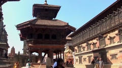The Durbar Square in Bhaktapur, Nepal Stock Footage