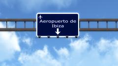 Stock Illustration of Ibiza Spain Airport Highway Road Sign 3D Illustration
