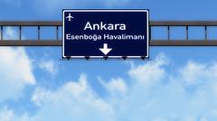 Stock Illustration of Ankara Turkey Airport Highway Road Sign 3D Illustration
