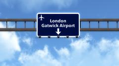 Stock Illustration of London England United Kingdom Airport Highway Road Sign 3D Illustration