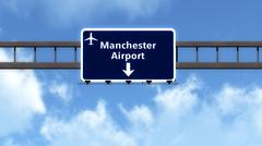 Stock Illustration of Manchester England United Kingdom Airport Highway Road Sign 3D Illustration