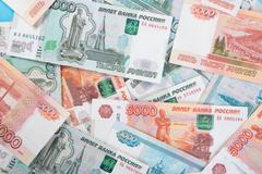 Russian money Rouble Banknotes background - stock photo