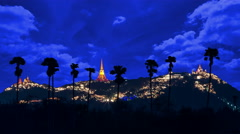Beautiful night light with Phra Nakhon Khiri at Phetchaburi, Thailand Stock Footage