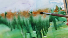 Watercolor painting close-up Stock Footage