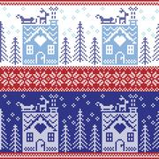 Stock Illustration of Scandinavian Nordic Christmas seamless  pattern with gingerbread house