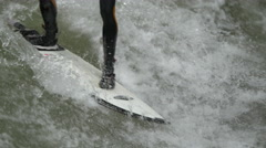 Surfing on the river in Munich Stock Footage