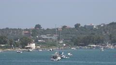 4K Aerial view old port Skiathos Island Greece boat fishing luxury yacht sail - stock footage