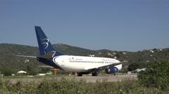 4K Aircraft prepare take off good weather Skiathos Island Greece airport piste Stock Footage