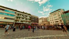 4K Agora Acropolis Monastiraki square, big crowd of people, panning timelapse Stock Footage
