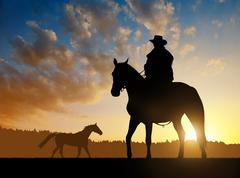 Silhouette cowboy with horse - stock photo