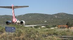 4K Big aircraft prepare take off Skiathos airport Greek airport airline traffic  Stock Footage