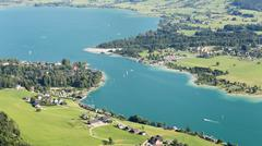 Wolfgangsee - Aerial Summer View - stock photo