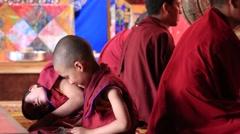 Young monk in Tsam mystery Yuru Kabgyat festival. Lamayuru, Ladakh, India Stock Footage