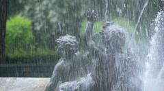 Children statues at the fountain from Friedensengel, Munich Stock Footage
