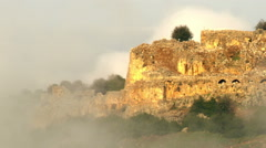 Video of Nimrod Fortress through fog shot in Israel. Stock Footage
