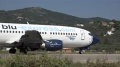 4K Big airline prepare take off commercial turbine jet airbus tourist passenger  Stock Footage