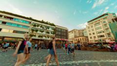 Agora Acropolis Monastiraki square, big crowd of people, panning timelapse 25p Stock Footage