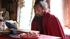 Tibetan monk in Tsam mystery Yuru Kabgyat festival. Lamayuru, Ladakh, India Stock Footage