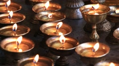 Icon-lamps in tibetan monastery of Lamayuru, Ladakh, India Stock Footage