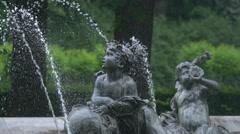 Children statues at the Friedensengel fountain in Munich Stock Footage